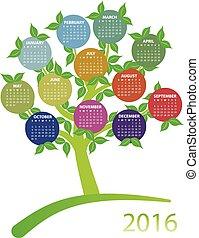 calendario, 2016, albero