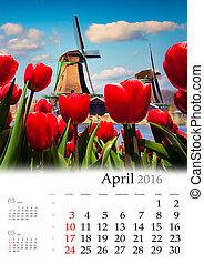 calendario, 2016., april.