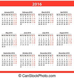 calendario, 2016