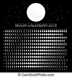 calendario, 2016, luna