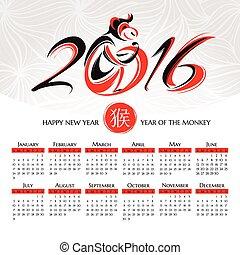 calendario, 2016, mono, año