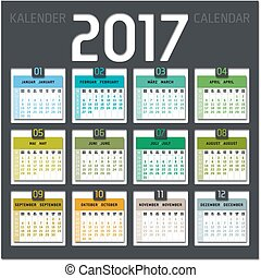 calendario, 2017, includere, settimane