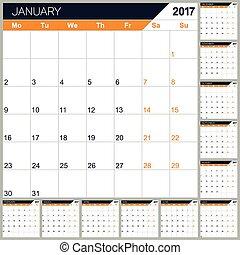 calendario, 2017, inglés