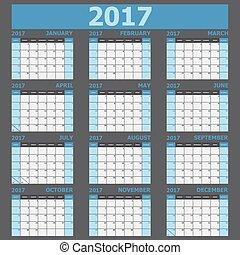 calendario, 2017, settimana, inizi, su, domenica, (blue,...