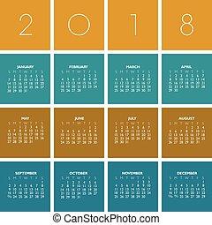 calendario, 2018, colorido, creativo