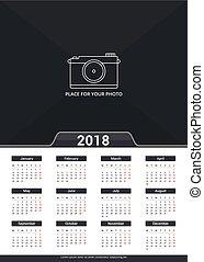 calendario, 2018, plantilla