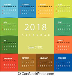 calendario, 2018, sagoma, variopinto