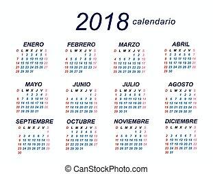 calendario, 2018, spagnolo