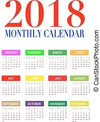 calendario, 2018