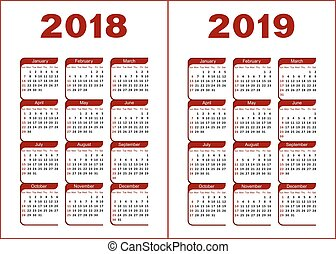 calendario, 2019, 2018