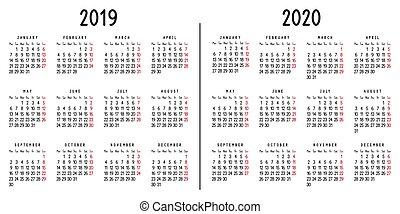Calendario 2020 E 2020 Da Stampare.Colorare Vettore 2019 Sunday 2020 Calendario
