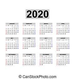 calendario, 2020