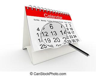 calendario, 3d, escritorio