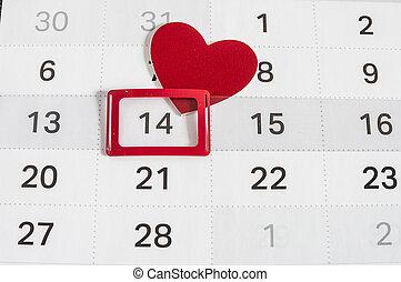 calendario, a, día de valentines