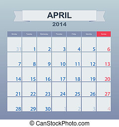 calendario, a, horario, monthly., abril, 2014