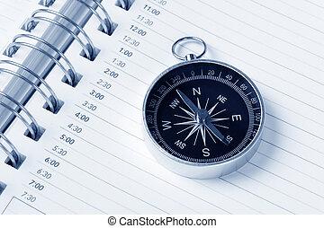 calendario, agenda, y, compás
