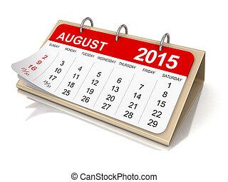 calendario, -, agosto, 2015