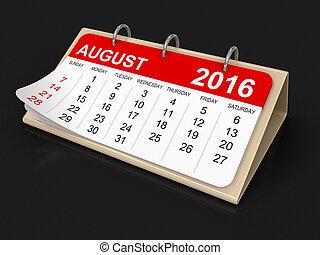 calendario, -, agosto, 2016
