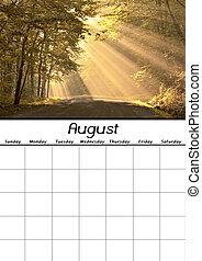 calendario, agosto, vuoto