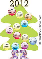 calendario, albero, natale, 2012