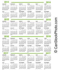 calendario, anno nuovo, 2014, 2015, 20
