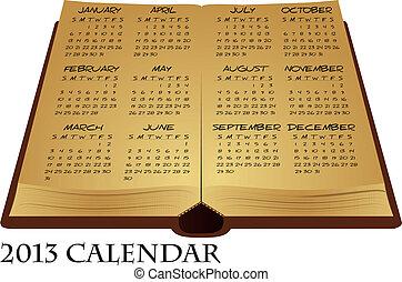 calendario, antico, libro
