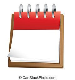 calendario, arte, clip, blanco