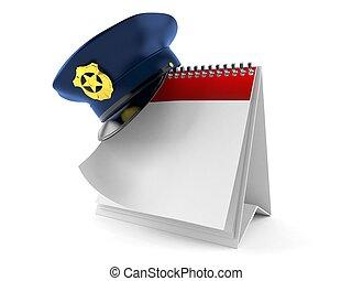 calendario, berretto, polizia, vuoto