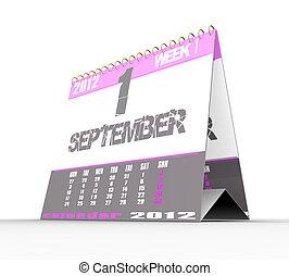 calendario, bianco, isolato, fondo, 3d