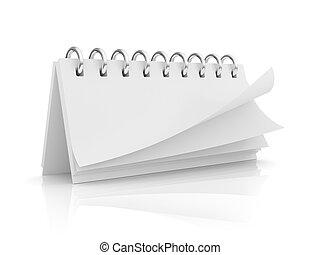 calendario, bianco, isolato, fondo, vuoto