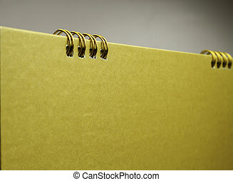 calendario, blanco, copia, oro, espacio