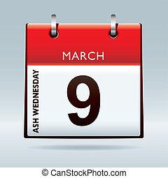 calendario, ceniza, miércoles