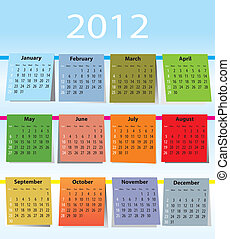 calendario, colorito, 2012