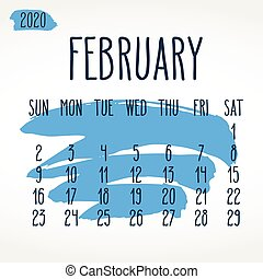 calendario, colpo, febbraio, mensile, 2020, vernice, anno