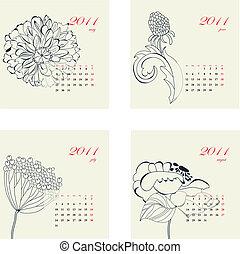calendario, con, fiori, per, 2011