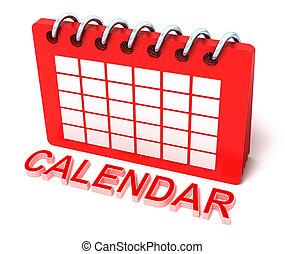 calendario, concetto, isolato, bianco