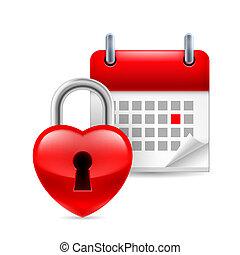 calendario, corazón, cerradura