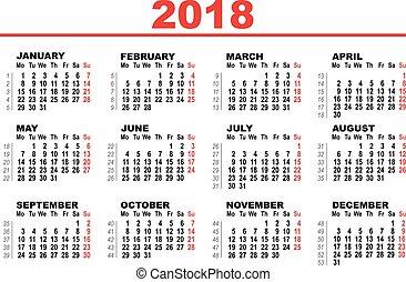 calendario, cuadrícula, 2018