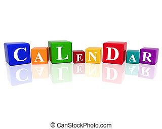 calendario, cubos, 3d