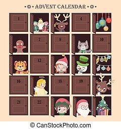 calendario de advenimiento, con, diversión, sorpresas