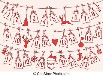 calendario de advenimiento, con, navidad, bolsas, vector,...