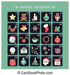 calendario de advenimiento, con, vario, alegre, navidad, elementos