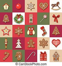 calendario de advenimiento, vector., navidad, conjunto,...