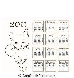 calendario, diseño, 2011, con, contorno, gato