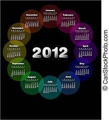 calendario, diseño, 2012