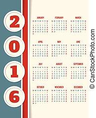 calendario, disegno, per, anno, 2016, con, cerchi