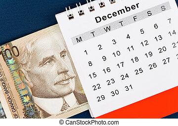calendario, dollaro, canadese