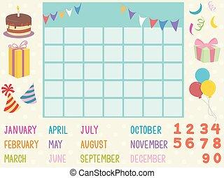 calendario, elementi, illustrazione, compleanno