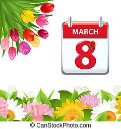 calendario, fiore, bordo