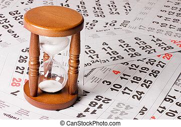 calendario, hojas, reloj de arena